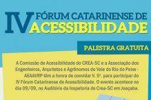 CREA e AEAAVRP promovem IV F�rum Catarinense de Acessibilidade em Joa�aba