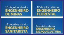 Parabéns aos Engenheiros de Minas, Florestais, Sanitaristas e de Aquicultura