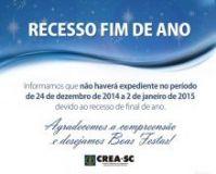 CREA-SC sem expediente entre 24.12.2014 e 02.01.2015