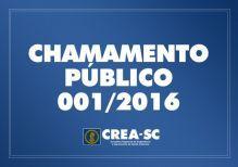 CHAMAMENTO P�BLICO 001/2016